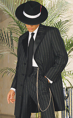 Zoot Suit 3/4 Length Frock Pinstripe Tuxedo Coat + Pants - Damaged/Theather Only
