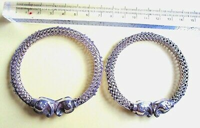 Pair Of Vintage St Silver Filigree Bracelet With Elephand Head