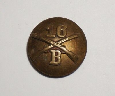 16th Infantry B Company Theater Made Collar Disc Pin Post WWII US Army M2323