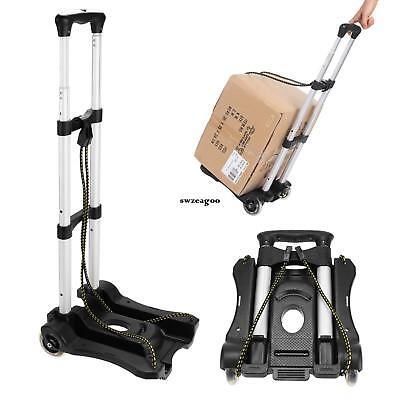 150lbs Load Folding Luggage Cart Compact Travel Hand Truck Dolly w/2 Ropes US