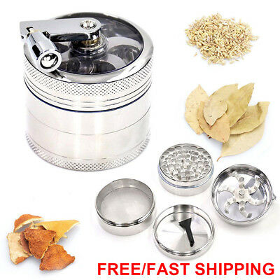 AU OZ J Smoke Grinder Herb Aluminum Hand Crank Herbal Tobacco Grinders 4-layer