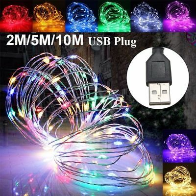 USB 2M5M10M LED Copper Wire String Fairy Light Strip Lamp Xmas Party Waterproof