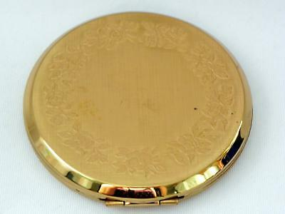 Vintage STRATTON Gold tone FLORAL embossed compact - Unused - Good
