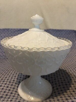 Embossed Milk Glass Decorative Stemmed Bowl With Lid Lolly Serving Quality VGC