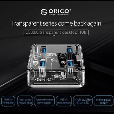 ORICO Transparent 4 Ports USB 3.0 HUB High Speed with Power Charging Interface