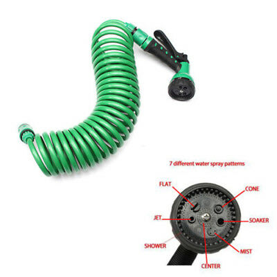 New Portable Garden Water Coil Coiled Hose Pipe & Spray Nozzle Head 7 Patterns