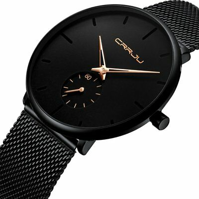 CRRJU Men Fashion Military Stainless Steel Analog Date Sport Quartz Wrist Watch