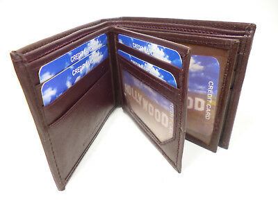 Lots Of Room-Little Dough! Burgundy Bi-fold Leather Wallet-10+Cards, 3 ID#QS114A