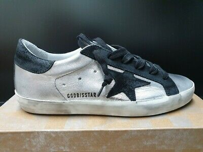 e3dc3647e Golden Goose Women's Superstar Sneaker Leather Silver Black Worldwide