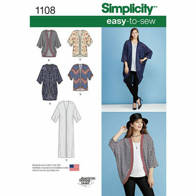 Simplicity Sewing Pattern 1108 Misses 4-26 Easy Kimonos Jackets 5 Styles