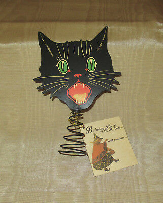 """Bethany Lowe Halloween Double Sided Scaredy Black Cat Tree Topper 6"""" NWT SALE"""