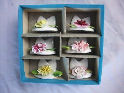 Coalport Bone China Place Card Holders with Flowers Set of 6