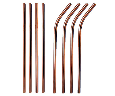 Rose Gold Metal Drinking Straws Stainless Steel Straw Bent /Straight 215mm x 6mm