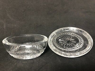 Pair Of Open Salt Antique Dips Pinch Clear Glass Bead Oval 1G