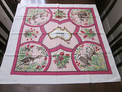 Australian Floral And Fauna With Map Vintage Tablecloth