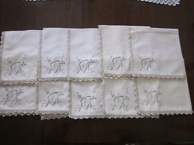 10 Cream Cotton Hand Embroidered Napkins With Crochet Lace Edge