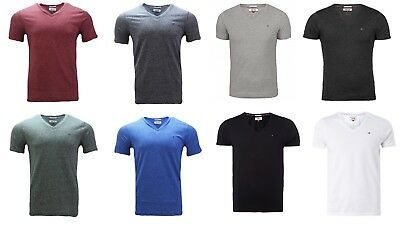 Tommy Hilfiger V-Neck Basic T- Shirt Meliert Herren Shirt, GR  S-XL