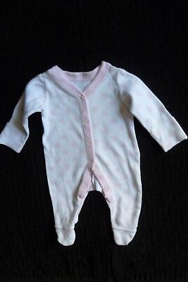 Baby clothes GIRL premature/tiny<7.5lbs/3.4kg white/pink hearts babygrow C SHOP