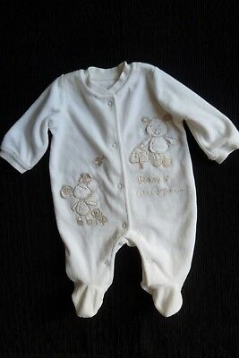 Baby clothes UNISEX BOY GIRL newborn 0-1m cream/beige mouse,bear velour babygrow
