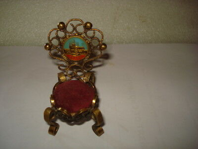 ANTIQUE DOLL TOY BABY DOLL  CHAIR BRONZE 1930's HANDPAINTED PRAHA
