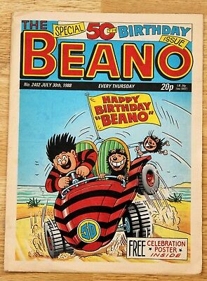 Beano Special 50th Birthday Issue. No. 2402 July 30th, 1988. Inc. Poster