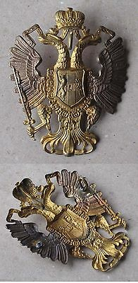 ANTIQUE AUSTRIAN HUNGARIAN GILT BRASS DOUBLE HEADED EAGLE / ARTILLERY / 19th C