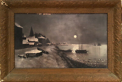 LARGE Antique 19th C. Moonlight Fishing Village Oil on Canvas Painting 34x23