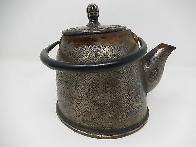 Old teapot in cast iron, design, Japanese