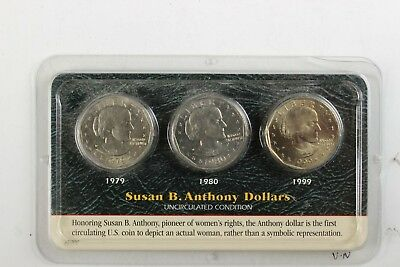 1979, 1980 & 1999 Susan B. Anthony Dollar Set Uncirculated From Littleton Coin