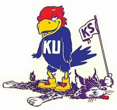 Kansas Jayhawks University Beat K State     Vintage Looking Travel Decal Sticker