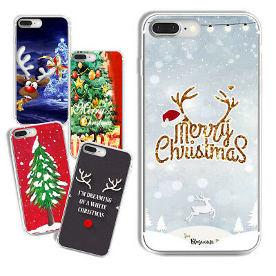 Christmas  Rubber Soft TPU Silicone Back Case Cover for iPhone X Samsung Huawei