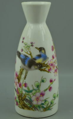 Collectible Chinese Style Old Porcelain Paint Pair Love Bird On Flower Rare Vase