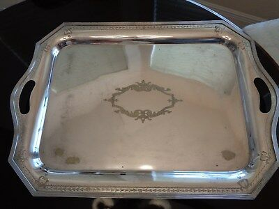 Large English Georgian Gadrooned Silver Plate On Copper Buttler Tray Twin Handle