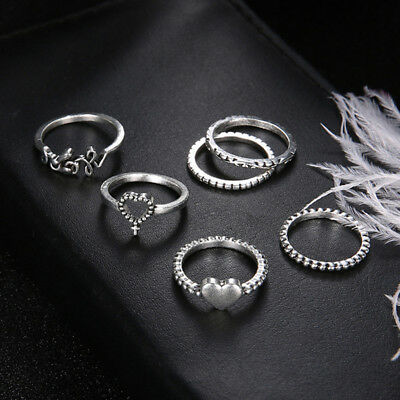 Women Ancient Silver Knot Love Heart Finger Midi Knuckle Ring Vintage Ring Set G