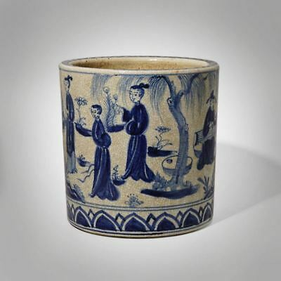 """7.48"""" Large Chinese Antique Ware Blue And White Porcelain Brush Pot Ming Dynasty"""