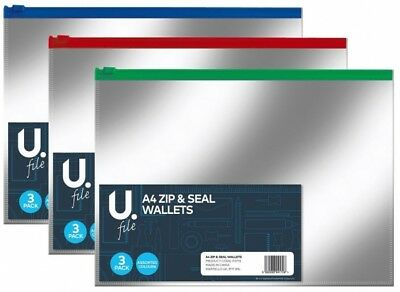 A4 Zip Seal Document Wallets Clear Transparent Bags Assorted Colour 3 Pack(2773)