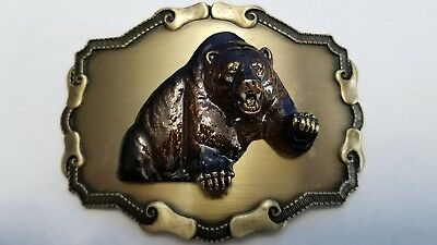 1977/1978 Forest Hunting GRIZZLY BEAR Raintree Jewelry 3-D Belt Buckle