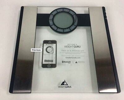 Weight Gurus Bluetooth Smart Bathroom Scale Large backlit LCD display 080
