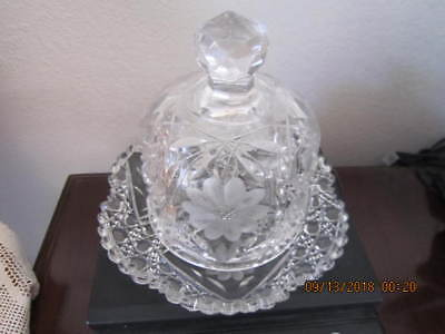"""Antique Brilliant Cut Glass Butter / Cheese Dish with Dome Lid  6"""" Tall  Lovely!"""