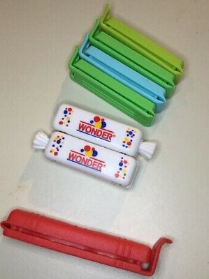 Lot Of 7 Clips, 2 Wonder Bread Mini Loaf Plastic Advertising Package Clips
