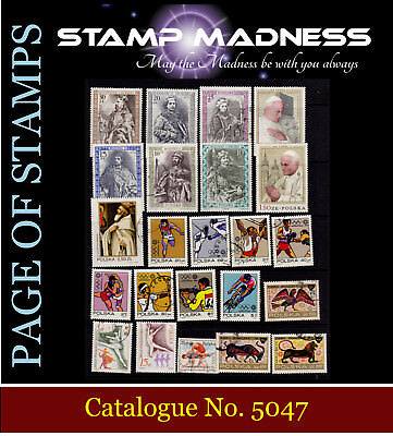 POLAND Page of Stamps Pope  Sports  Olympics Mint & Used from bulk Estate buy