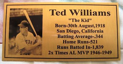 Baseball Legend Ted Williams Gold Plaque Photo