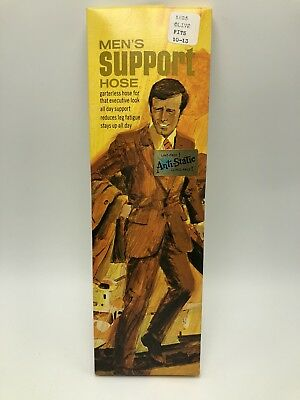 Vintage 1970s Mens Support Hose Stretch Socks Nylon Olive Green NOS