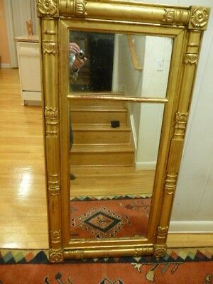 "Antique Empire American Federal Mirror Gilt Wood 49"" x 25 1/2"" Isaac Platt NY"