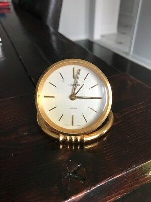 Vintage Concord 8 Day Travel Clock Swiss Brass Alarm