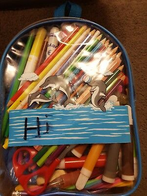 Back pack with assorted pencils. Textas and assorted items