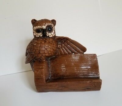 Vintage Owl Decor Fun Business Card Holder Figurine Ceramic Retro