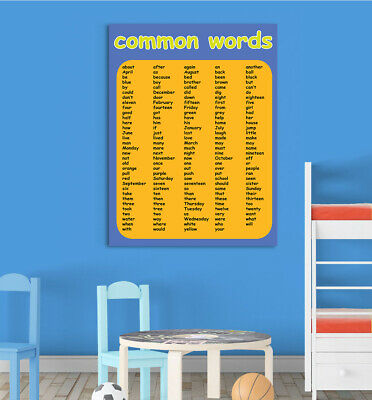 Boys Common Words Children Educational Poster Chart School Home Learn All Sizes
