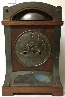 Antique Arts And Crafts Oak Cased Slag Glass Liberty Style Mantel Clock