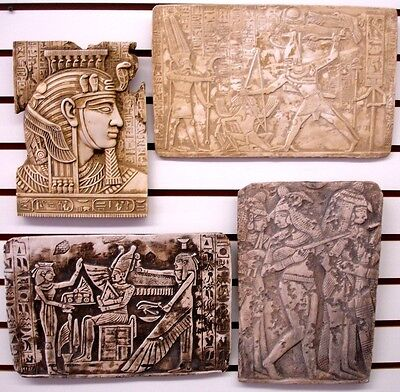 Clearance Lot 4 Ancient Egyptian Wall Fragment King Tut,Ramses II Battle,Isis